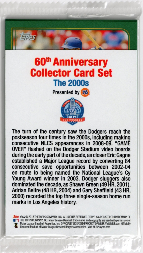2018 Dodgers 60th Anniversary Cards 2000's
