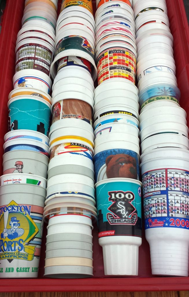 Assorted plastic sports cups