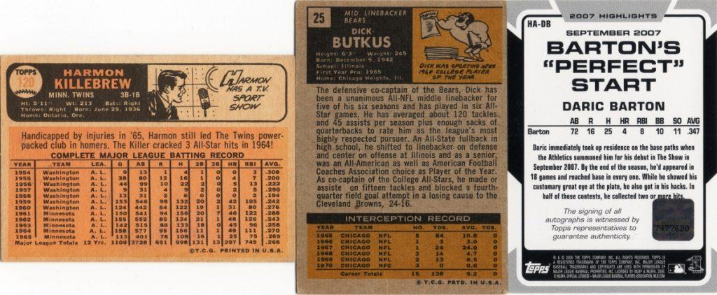 1966 Topps Baseball #120, 1971 Topps Football #25, 2008 Topps Baseball Highlights Autographs HA-DB cardbacks