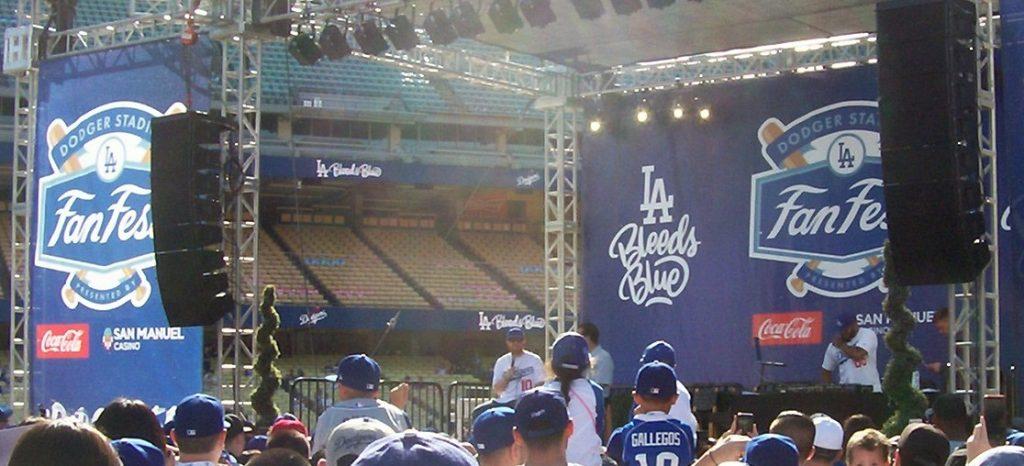 Dodgers 3B Justin Turner on the Dodgers Fan Fest stage