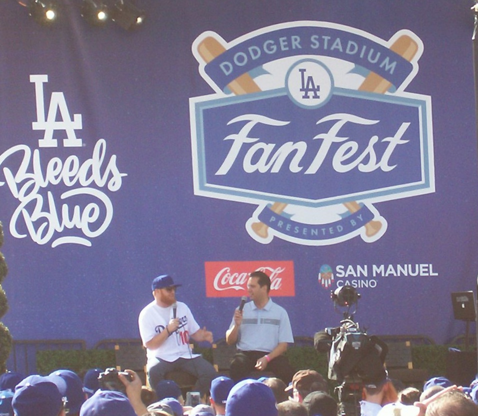 Another view of Dodgers 3B Justin Turner on the Dodgers Fan Fest stage